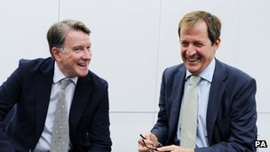 Peter Mandelson and Alastair Campbell