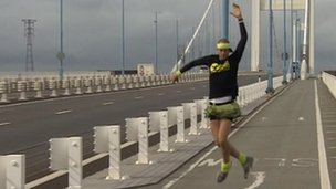 Ben Hammond dancing across the Second Severn Crossing