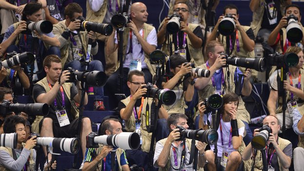 Press photographers at the London Olympics