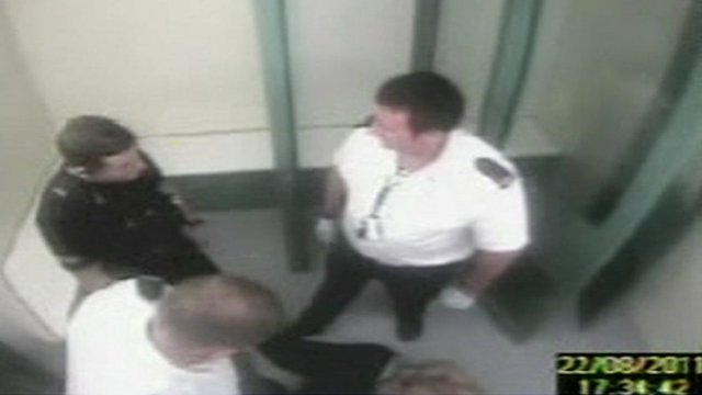 CCTV showing Jacob Michael being held in the Runcorn custody suite