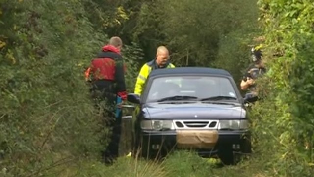 Michael Pedersen's car on the bridleway where the bodies were found