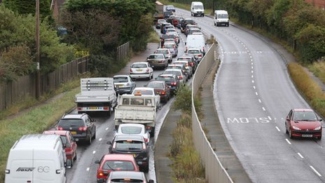 Traffic jams on the A27