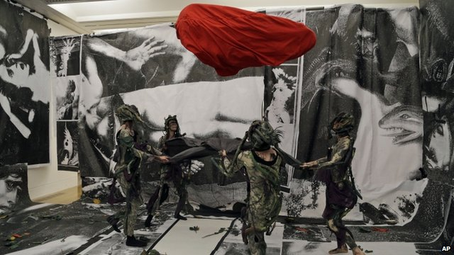 Performers take part at Turner Prize nominee Spartacus Chetwynd&#039;s performance entitled &quot;Odd Man Out 2011&quot; at Tate Britain in London