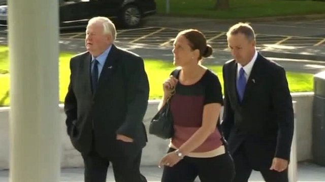 George Collier (right) arrives in court