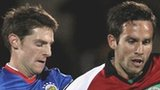 Linfield's Daryl Fordyce and Andrew Waterworth of Glentoran