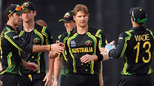 Shane Watson (centre) has been the star of Australia's success so far