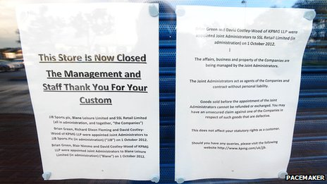 JJB Sports closure notice
