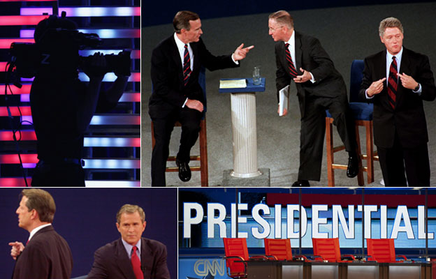 A camera shoots images at a debate (Getty Images); George H W Bush, Ross Perot and Bill Clinton at a debate in 1992 (AP); George Bush and Al Gore debating in 2000 (AFP); A presidential debate sign (Getty Images)