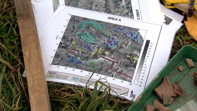Archaeologist's map of the dig area