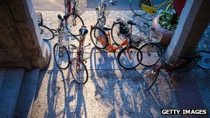 Archive photo of bicycles in Venice