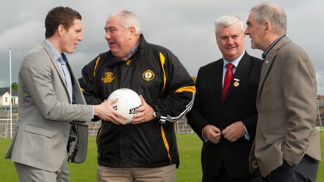 John McAreavey and Mickey Harte with Joe Kernan and Aogan O Fearghail at the launch of the charity match