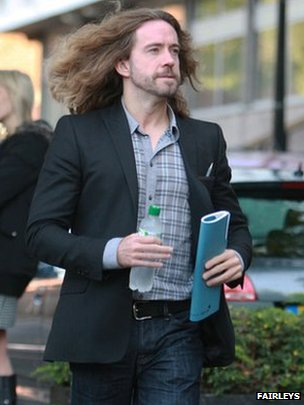 Justin Lee Collins arriving at St Albans Crown Court