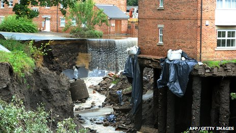 Flood damaged Spencer Court flats, Newburn, Newcastle