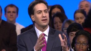 Ed Miliband on stage