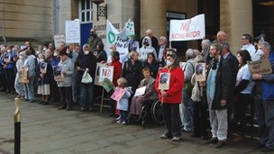 Protestors outside Shire Hall