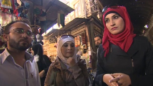 Shoppers in Syria