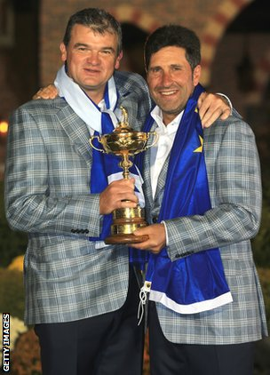 Scottish golfer Paul Lawrie and Jose Maria Olazabal