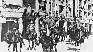 Japanese occupation forces parade through Hong Kong