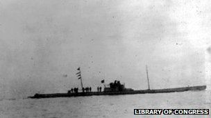 German u-boat U28, seen from the deck of the Batavier V