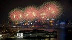 Fireworks explode over Victoria Harbour to celebrate the 63rd anniversary of the founding of the People&#039;s Republic of China, in Hong Kong, 1 October 2012