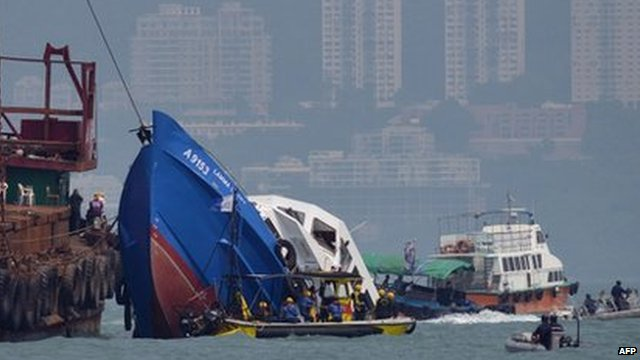The Lamma IV pleasure boat, which partially sank off Hong Kong's Lamma island on Monday night, is recovered on Tuesday