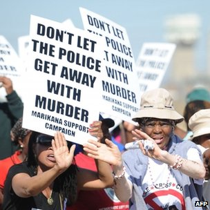 Protesters demonstrate at the Marikana site near Lonmin mine on 1 October