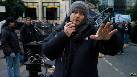 Gary Powell on the set of Skyfall