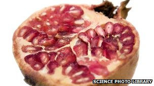 A split pomegranate