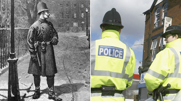 Policeman in a snowy street, 1876, two police officers today