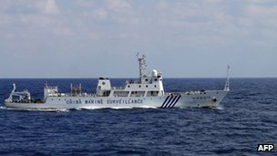 A Chinese marine surveillance ship cruising near the disputed islands in the East China Sea, 2 October 2012