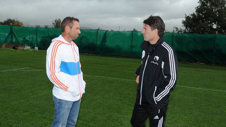 Sergio Garcia with Swansea City manager Michael Laudrup