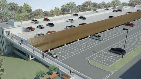 Computer-generated image of the new car park at Llandough Hospital