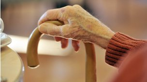 elderly woman's hand