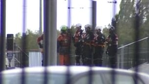 Firefighters on training course at Lee Valley