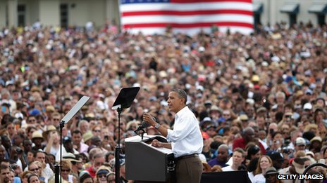 President Obama campaigning