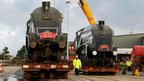 "The transatlantic sisters of the Mallard, the world""s fastest steam locomotive, arrive at Peel Port, Liverpool,"
