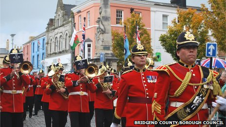 Bandsmen played as the troops marched through the county town