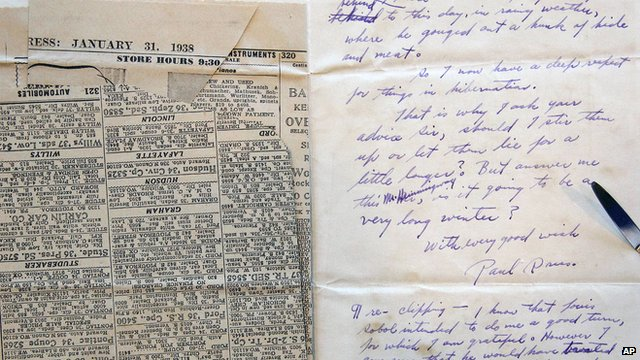 Letter and newspaper clipping sent to Ernest Hemingway