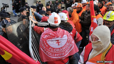 ArcelorMittal employees demonstrate