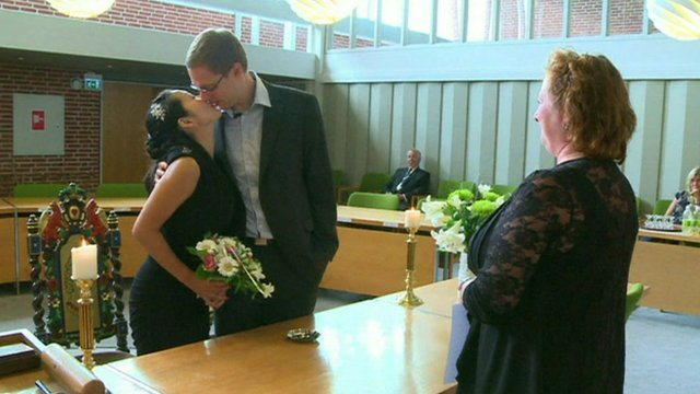 German couple kissing in a Danish church