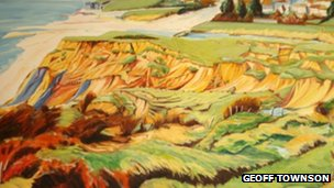 Evans Cliff Landslip Charmouth painted by Geoff Townson