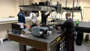 Scientists in Heriot Watt laboratory