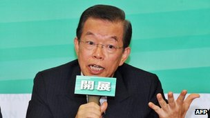 Former premier Frank Hsieh of the opposition Democratic Progressive Party speaks during a press conference in Taipei on 1 October, 2012