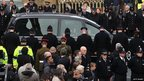 The funeral cortege of police Constable Fiona Bone arrives at Manchester Cathedral