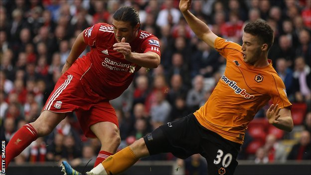 Matt Doherty in action for Wolves against Liverpool last season