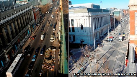 Exhibition Road, London, before and after development