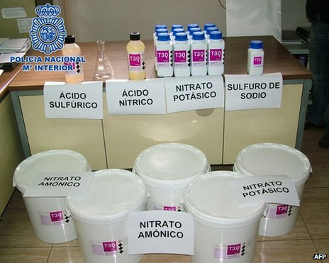 Explosives put on display by Spanish police, 4 October