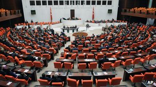 Turkey's lawmakers debate in parliament in Ankara (4 Oct)