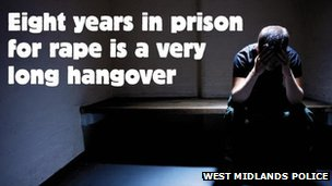 Anti rape poster fro West Midlands Police