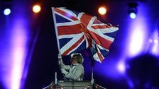 Union jack aloft at the closing ceremony